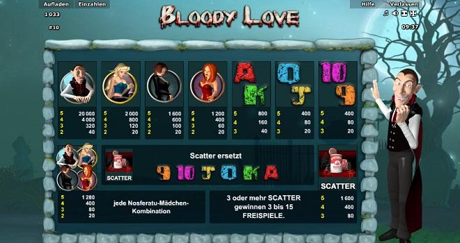 Blutige Liebe als lustiger Online Spielautomat