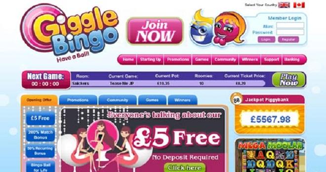 Äußerst großzügiger Willkommensboni bei Giggle Bingo